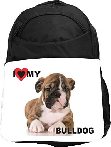 Puppy Love Backpack (Rikki Knight UKBK I Love My BullDog Puppy Dog Tech BackPack - Padded for Laptops & Tablets Ideal for School or College Bag BackPack)