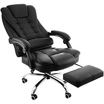 Delicieux Happybuy Executive Swivel Office Chair With Footrest PU Leather Ergonomic Office  Reclining Chair Adjustable High Back Office Armchair Computer Napping Chair  ...