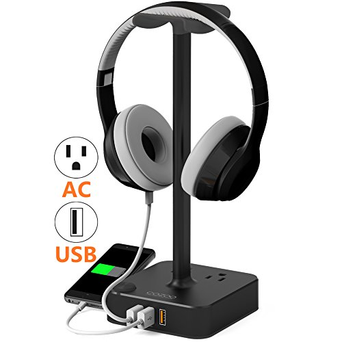 Headphone Stand with USB charger COZOO Desktop Gaming Headset Holder Hanger with 3 USB Charging Station and 2 Outlets Power Strip - Suitable For Gaming, DJ, Wireless Earphone Display (Black) - Station Charger Stand