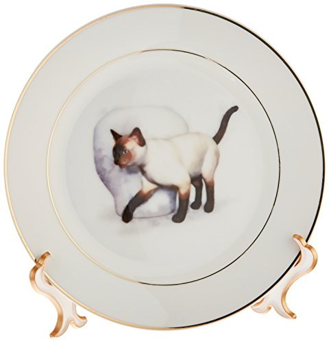 3dRose cp_41473_1 Siamese Cat and Vase Porcelain Plate, 8-Inch