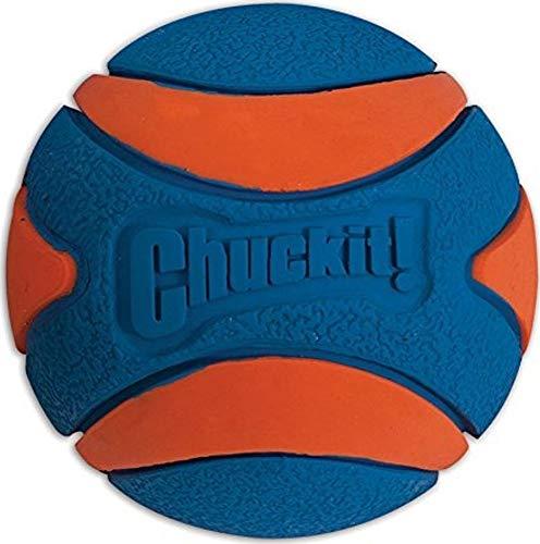 (Chuckit! Ultra Squeaker Dog Ball High Bounce Blue/Orange 3 sizes)