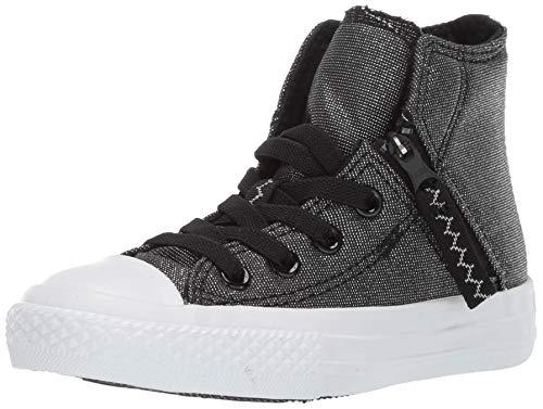(Converse Kids' Chuck Taylor All Star Pull-Zip High Top Sneaker, Charcoal/Black, 5 M US Big)