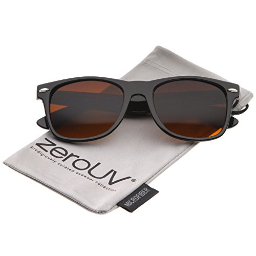zeroUV - Classic Driving Blue Blocking Amber Tinted Lens Horn Rimmed Sunglasses 55mm (Shiny Black / - Best Sunglasses For Cheap Men