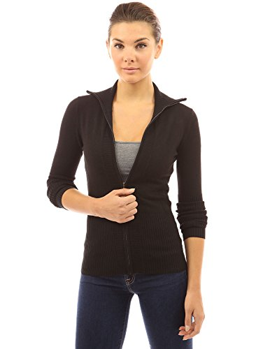 PattyBoutik Women's Mock Ribbed Full Zip Cardigan (Black M) - Ladies Full Zip Cardigan Sweaters