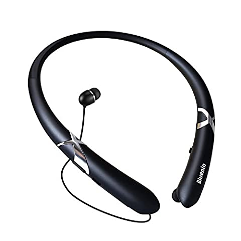 Bluetooth Headphones Retractable Earbuds Neckband Wireless Headset Sport Sweatproof Earphones with Mic for iPhone Android Cellphone (Bluetooth 4.1,Noise Cancelling , 14 Hours Play Time) (Matte (Bluetooth Tangle Free Headphones)
