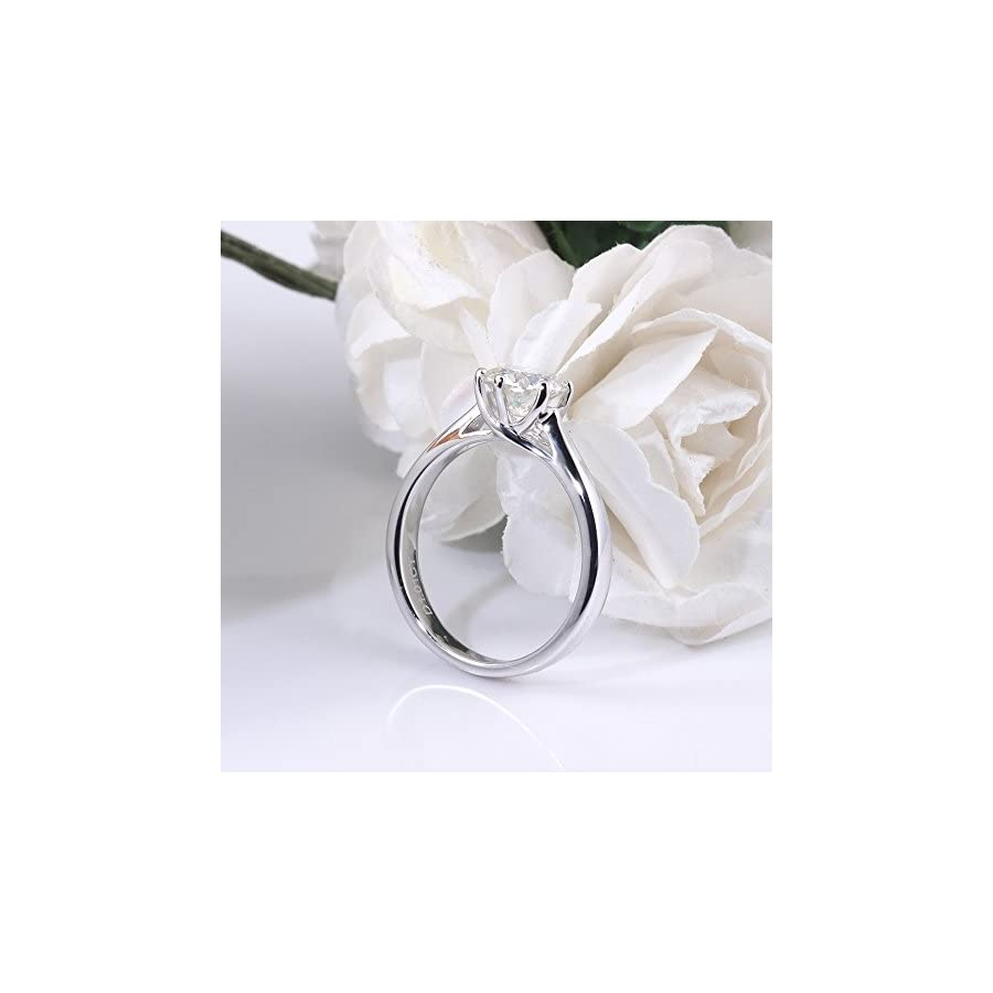TransGems 1 Carat,6.5MM Moissanite Engagement Ring,Platinum Plated Sterling Silver Excellent Cut IJK Color for women