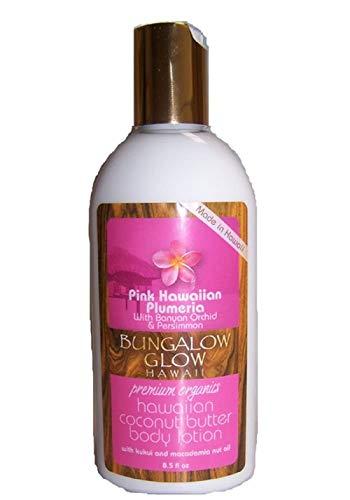 Bungalow Glow Premium Organics Pink Hawaiian Plumeria Coconut Butter Body Lotion, 8.5 OZ -  856214003005