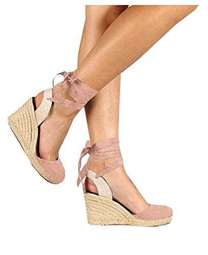 PiePieBuy Womens Espadrille Wedges Ankle Strap Closed Toe Heeled Sandals (8 B(M) US, 2-Pink)