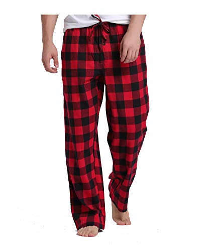 Sahara Men's 100% Cotton Plaid Flannel Pajama Pants - Black Red Gingham - S (Black Flannel Pajama)