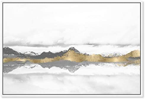 The Oliver Gal Artist Co. Abstract Framed Wall Art Canvas Prints 'Stood Still and Wondered Mountains Home D cor