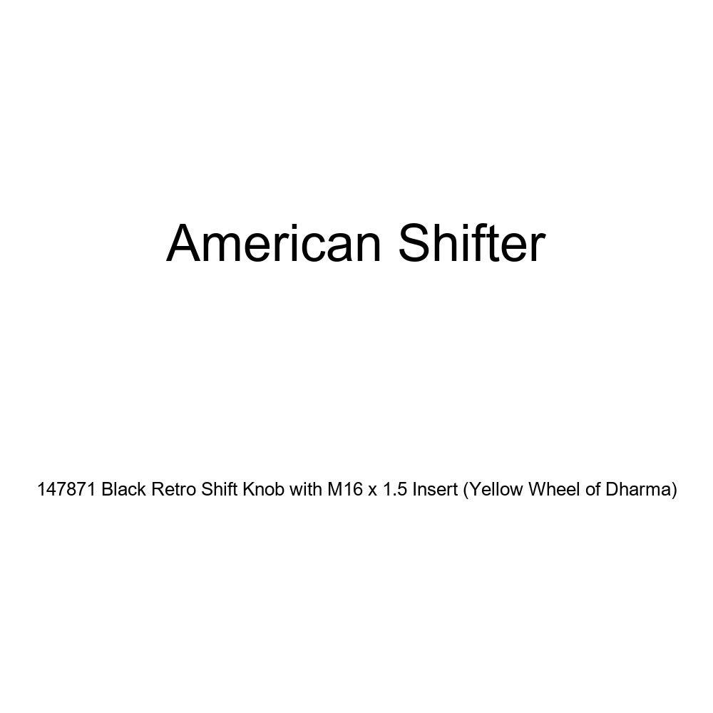 American Shifter 147871 Black Retro Shift Knob with M16 x 1.5 Insert Yellow Wheel of Dharma