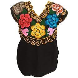 Casa Fiesta Designs - Blusa de diseño Floral Mexicano, Bordada, auténtica, Hecha a Mano, algodón, Color Negro