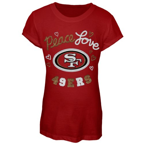 San Francisco 49ers - Glitter Peace Love Logo Youth T-Shirt Maroon 20