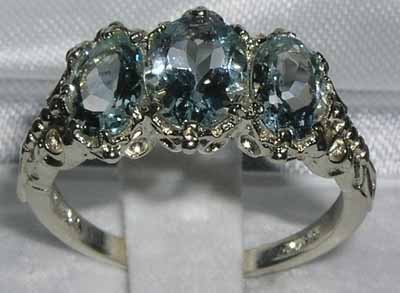 925 Sterling Silver Natural Aquamarine Womens Trilogy Ring - Sizes 4 to 12 Available