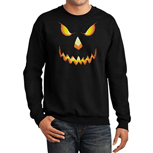 Halloween Scary Pumpkin Face Men's Sweatshirt Medium Black