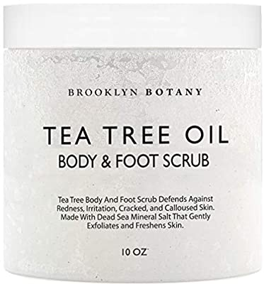 Tea Tree Oil Body and Foot Scrub 10 oz - Exfoliating & Moisturizing Salt Scrub - Best Exfoliating Cleanser for Skin - Natural Help Against Acne and Callus - Brooklyn Botany