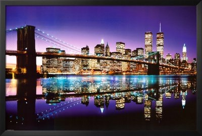 Professionally Framed Brooklyn Bridge New York City Skyline Colored Photo Poster Print - 24x36 with RichAndFramous Black Wood - Nude Nyc United