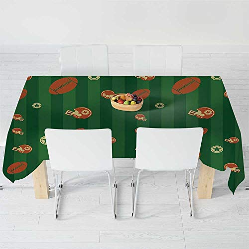 TecBillion Printed Tablecloth,Football,for Rectangle Table Kitchen Dinning Party,120 X 60 Inch,Old Fashioned Composition with Green Stripes Rugby