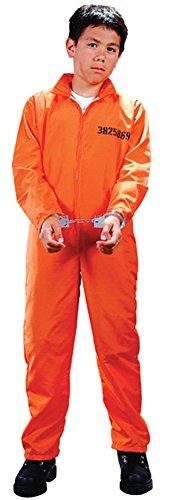 Child Got Busted Prisoner Costume - Medium (8-10) (Halloween Orange Jumpsuit)
