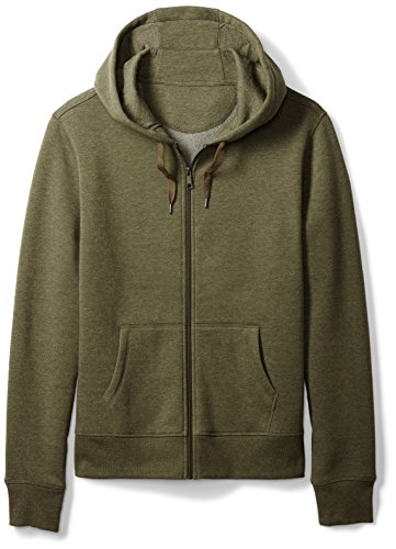 Amazon Essentials Men's Full-Zip Hooded Fleece Sweatshirt, Olive Heather, Small