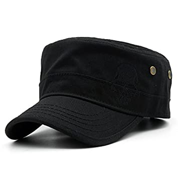 d3f08e893 Llxln Men Baseball Caps Skull Embroidered Logo Flat Top Hats Cotton  Snapback Flat Cap Army Cadet