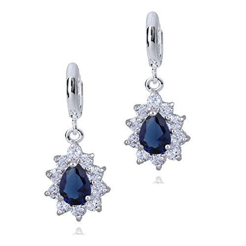 Sapphire Austrian Crystal Earrings (Teardrops Dangle Earrings with Blue Simulated Sapphire Zirconia Austrian Crystals 18 ct White Gold Plated)