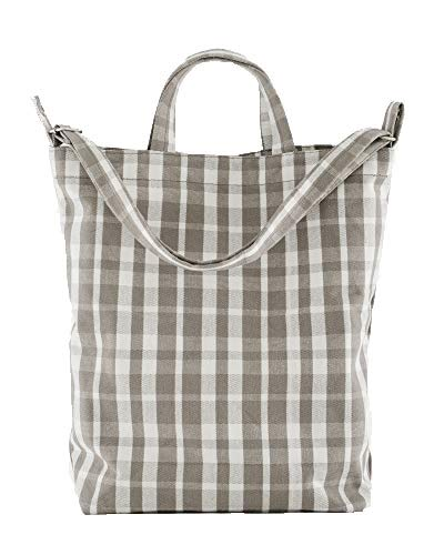 BAGGU Duck Bag Canvas Tote, Essential Tote, Spacious and Roomy, Dove Plaid ()