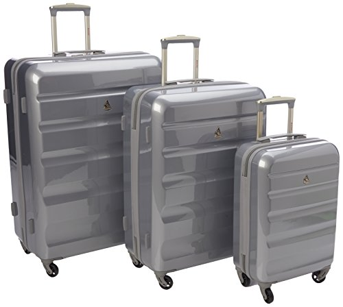 Aerolite Lightweight Unbreakable Makrolon Hard Shell Travel Luggage 4 Wheel Suitcase Luggage Set, 73 cm, 131.0 Liters, Silver 715