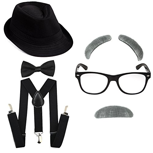 1920's Boys Gangster Costume Set - Short Brim Fedora Hat,Adjustable Suspenders with Pre-Tied Bow Tie, Old Man Eyebrows & Moustache,Nerd Fake Glasses for Kids & Child(Black Hat & Black -