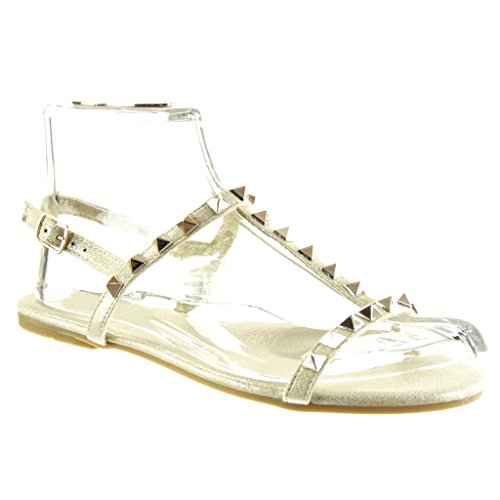 Angkorly Women's Fashion Shoes Sandals - t-Bar - Studded - Buckle - Golden Flat Heel 1 cm Gold