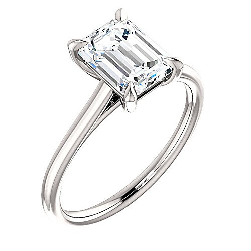 KING OF JEWELRY Natural, Not Enhanced, Emerald Cut Solitaire Diamond Engagement Ring, H-Color, VS2 Clarity - GIA Certified (Platinum, 3.00) ()