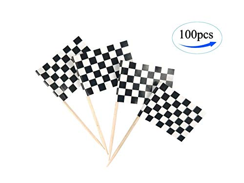 JBCD Racing Flag Checkered Flags,100 Pcs Cupcake Toppers Flag, Toothpick Flag,Small Mini Stick Flags Picks Party Decoration Race Car Party Celebration Cocktail Food Bar Cake Flags,Sport Events