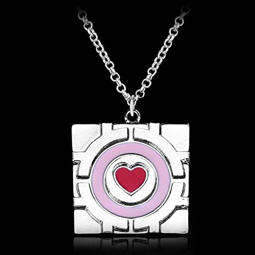 FITIONS - Mucho Portal Collar Pink Heart Chain Alloy Pendant Necklace Companion Cube Gift For Man Women Accessories