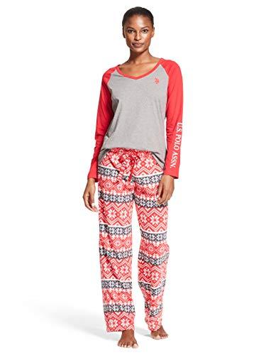 U.S. Polo Assn. Womens Long Sleeve Shirt and Winter Geo Print Pajama Pants Sleepwear Set Charcoal Heather Small