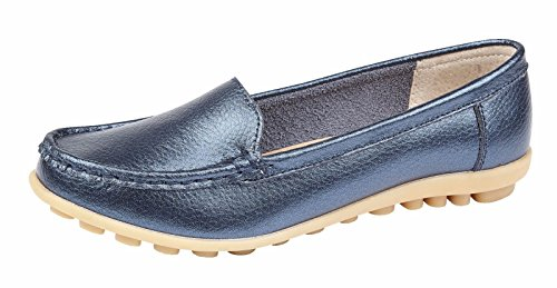 Womens Ladies Slip On Leather Comfort Work Summer Casual Loafers Shoes Sizes 3-8 Peacock Blue xiDlhfNx3