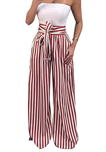 JeanewPole1 Women Striped Flowy Wide Leg High Waist Belted Palazzo Harem Pants by JeanewPole1