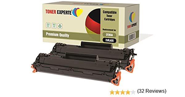 Pack de 2 TONER EXPERTE® Compatibles CF283A 83A Cartuchos de Tóner Láser para HP Laserjet Pro MFP M125nw, M126a, M126nw, M127fn, M127fw, M128fn, ...