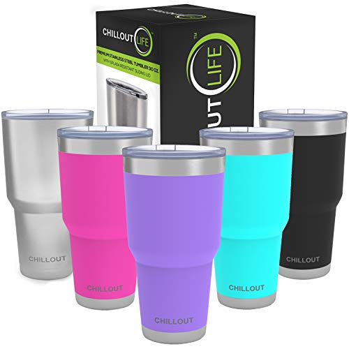 Stainless Steel Tumbler 30 oz with Splash Proof Sliding Lid & Gift Box - Double Wall Vacuum Insulated Large Travel Coffee Mug for Hot & Cold Drinks - Powder Coated Tumbler, Purple Tumbler