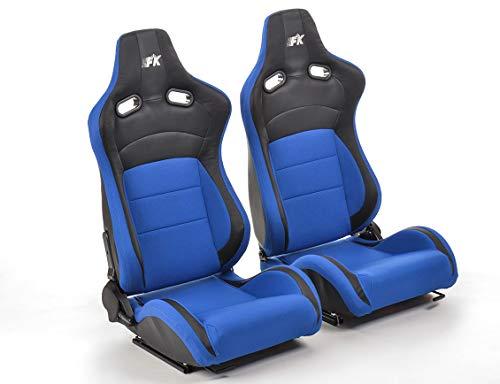 Pair of Ergonomic Performance FK sport seats half bucket seats Set Köln artificial leather/textile black/blue: