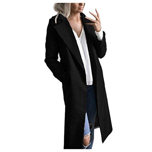 Coat Black Overcoat Women Parka Lapel Jacket Winter Cardigan Fuibo Long Outwear qS8tv