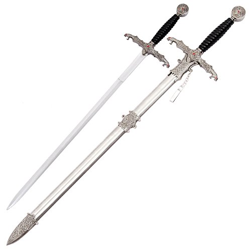 Fantasy Medieval Decorated Templar Knights Flaming Dragon Sword