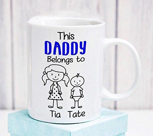 Dad Mug - This Daddy Belongs to Mug - Coffee Mug - Family mug - Gift idea - Father's Day personalised stick figure - Family Mug - Two Children ()
