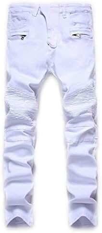 Aiyino Men's Slim Zipper Biker Jeans Moto Denim Pants