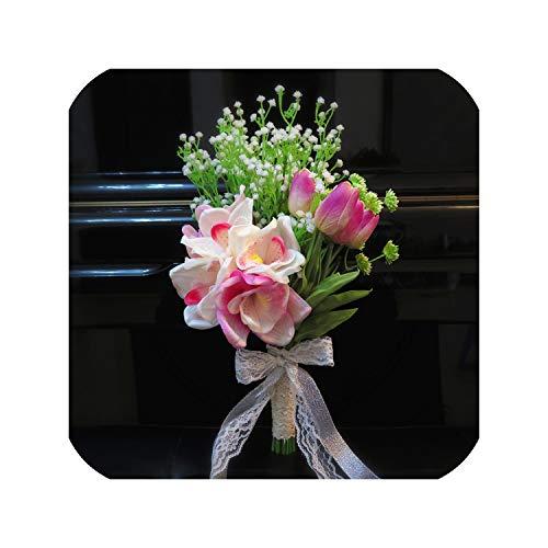 Stargazer Lilies Wedding Bouquets - Wedding Bouquets Boat Orchids Tulips Baby's Breath Artificial Flowers for Bride Bridal Bouquet,2