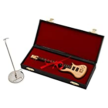 7 in. Natural Wood Bass Electric Guitar Instrument Miniature Replica with Case