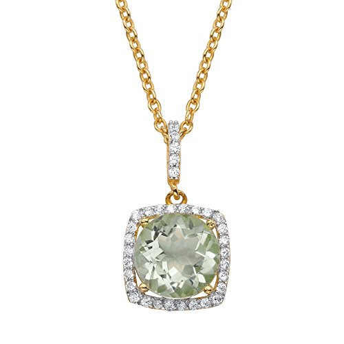 (Seta Jewelry Genuine Green Amethyst and CZ 14k Gold over .925 Silver Halo Pendant Necklace 18