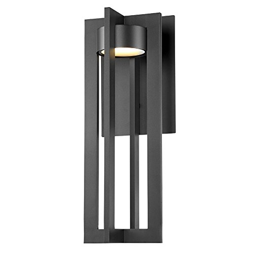 WAC Lighting WS-W48620-BK Chamber Outdoor Sconce LED Light Fixture, 20 Inches, Black