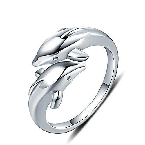 Double Dolphins Ring 925 Sterling Silver Adjustable Open Wrap Thumb Finger Band Promise Rings for Women Teen Girls