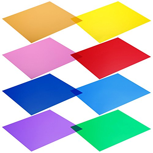 Neewer 12 x 12-Inches Pack of 8 Transparent Color Correction Lighting Gel Filter in 8 Different - Acetate Colored