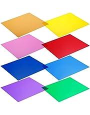 Neewer 30 x 30 cm transparante kleurcorrectie lichtgel-filter set verpakking: 8 gelvellen voor fotostudio flitslicht (rood, geel, oranje, groen, paars, roze, lichtblauw, donkerblauw)